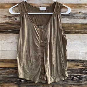 Anthropologie | T.la Green Button Front Tank Small
